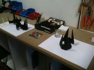 Les trois vaisseaux prêts à être peints !
