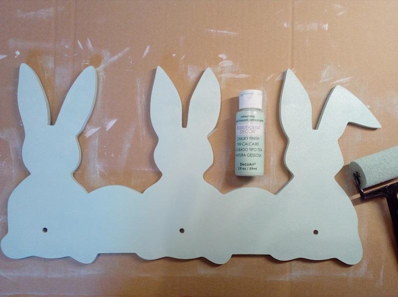 Porte manteau lapin découpe CNC MDF peinture craie chalky finish vert d'eau