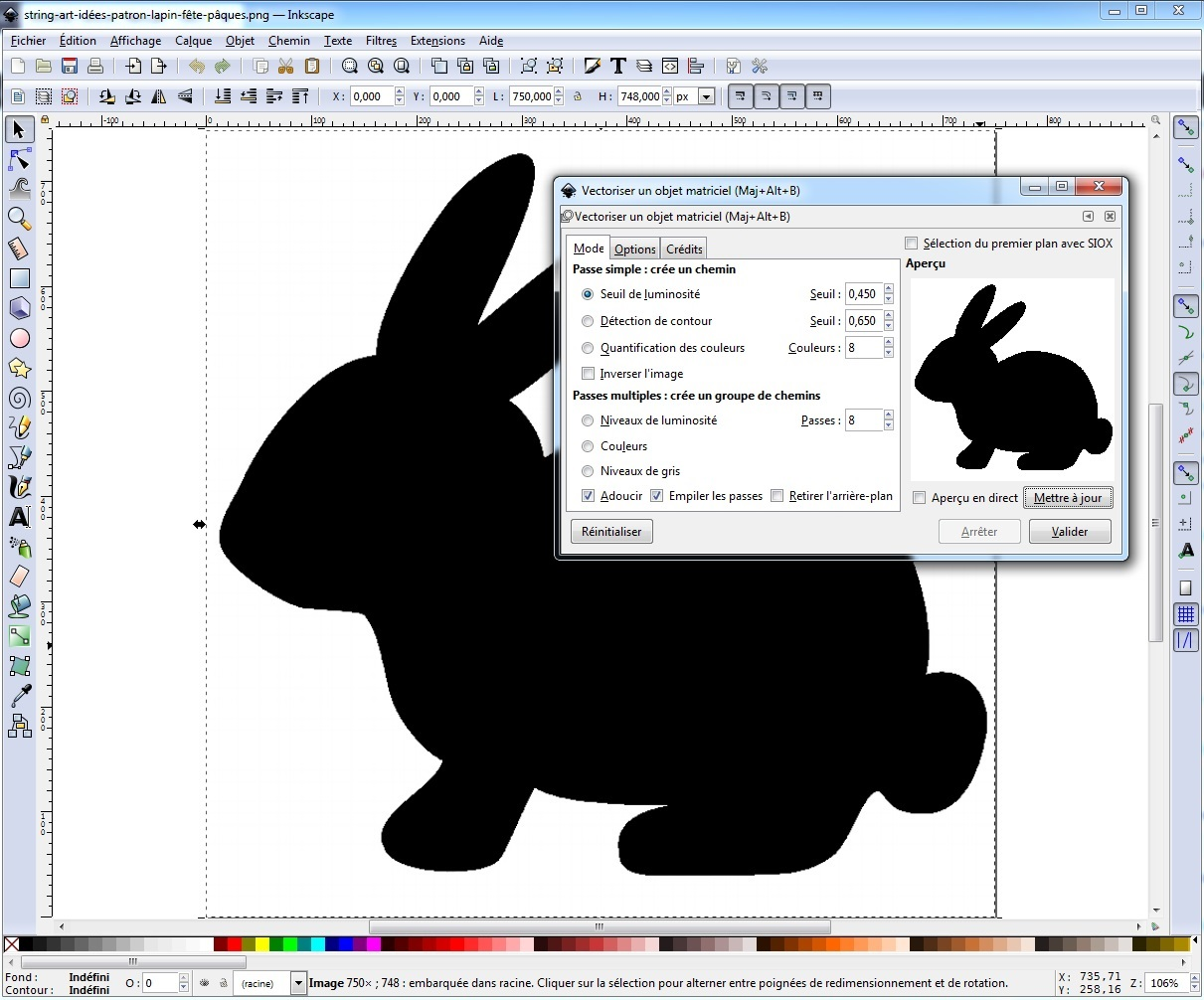 Vectorisation noir et blanc Inkscape découpe numérique