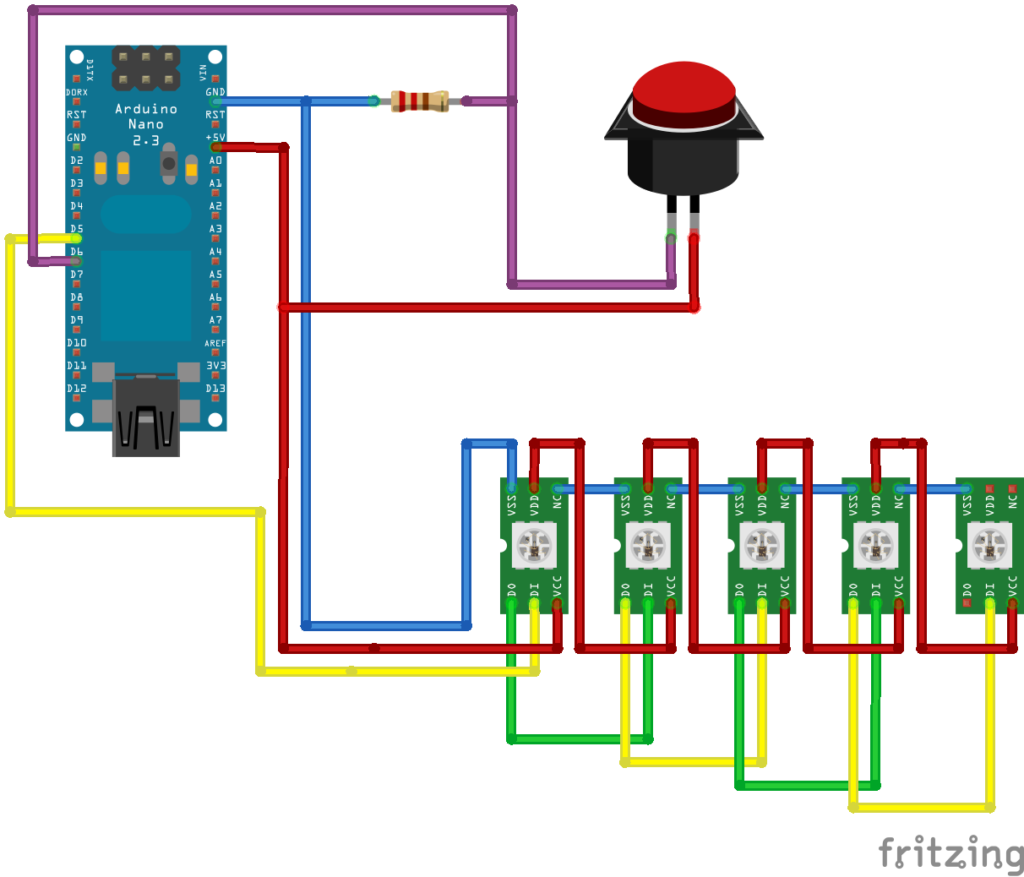 veilleuse nuage sketch fritzing circuit LED RGB Arduino Nano tutoriel