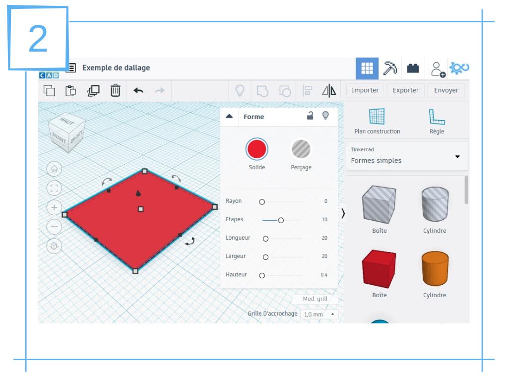 NavLab - Tutoriels - TinkerCAD - dallage pour socle de figurine imprimé en 3D - socle