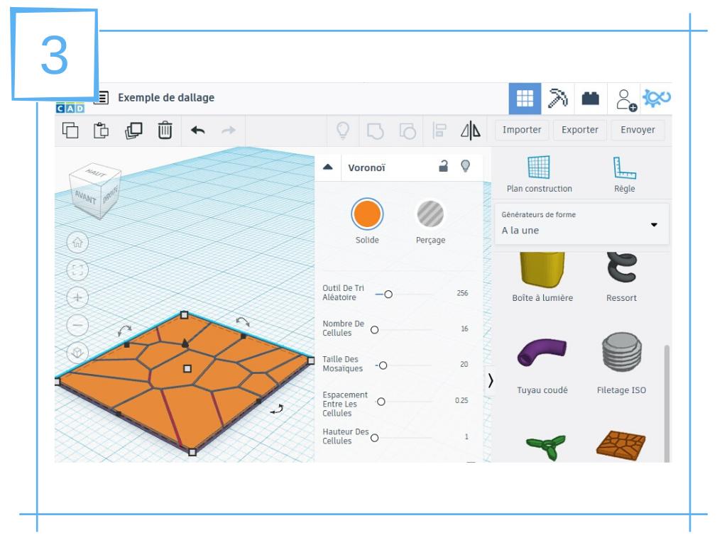 NavLab - Tutoriels - TinkerCAD - dallage pour socle de figurine imprimé en 3D - voronoï