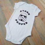 flocage t-shirt thermocollant body bébé personnalisation animation fabrication numérique silhouette cameo storm pooper star wars